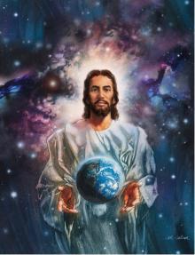 Jesus holding earth